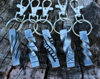 Hand forged steel key chain
