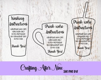 Care Card Svg Care Card Bundle Apply Vinyl Decal Print And - Vinyl cup care instructions