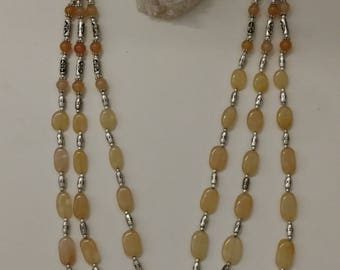 Yellow Aventurine Beaded Necklace and Matching Earrings