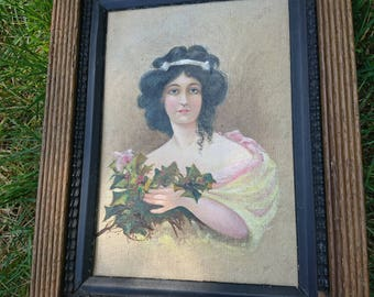 Pretty portrait painting of a Victorian/Edwardian lady holding a bunch of Holly