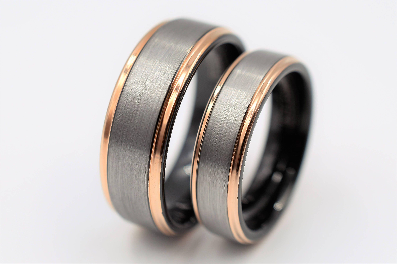 Tungsten Wedding Band Set Tungsten Ring Mens Tungsten