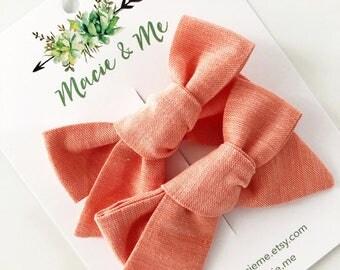 Peach Linen Pigtail Bows