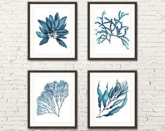 Sea Coral Print Set, Coral Prints,Set Of 4 Prints,Coral Print,Seaweed Art,Marine Prints,Blue Wall Art,Nautical Print,Texas,Coastal,Australia