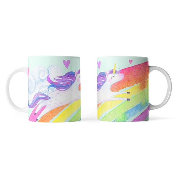 Cute unicorn watercolor rainbow mug - Funny mug - Rude mug - Mug cup 4P108