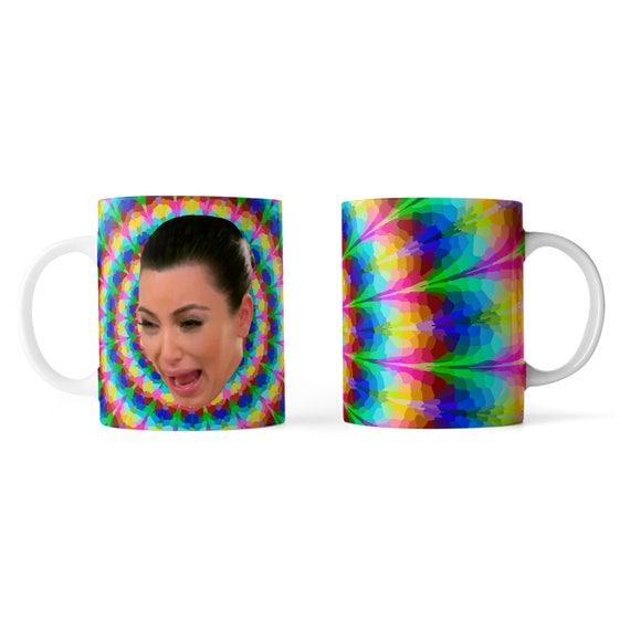 Kim Kardashian crying face trippy mug- Funny mug - Rude mug - Mug cup 4P081