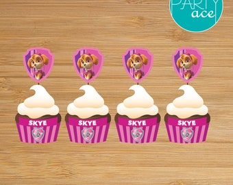 Skye Cupcake Wrappers and Toppers Paw Patrol Printable Happy Birthday Party Decoration