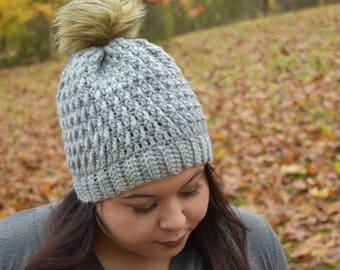 Crochet beanie-crochet hat-winter hat-beanie-slouchy beanie-pom pom hat-faux fur pom