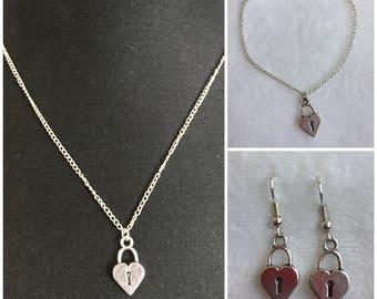 Silver plated padlock heart set