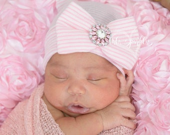 Infant newborn baby girl pink hat cap. hospital beanie . bow big bowknot. rhinestone center socks mittens set