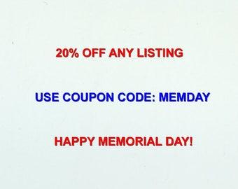 Memorial Day Sale Now Thru June 10th