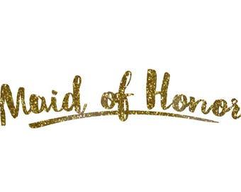 Maid Of Honor Decal Etsy - Custom vinyl transfer decals