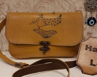Yellow Crossbody, Clutch, Leather, Heidi against to Wind,Code:125