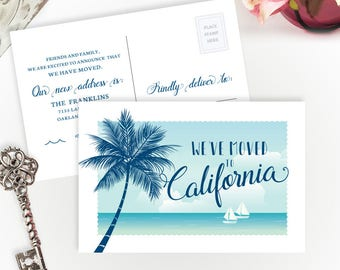 PRINTED we've moved to California | Change of address cards | California, Florida moving | 4X6 moving postcards