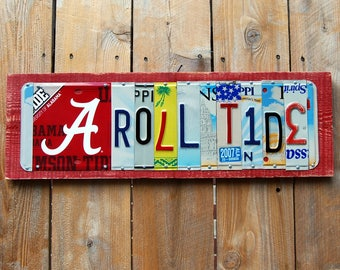 ROLL TIDE w/logo -  University of Alabama Crimson Tide - custom license plate sign