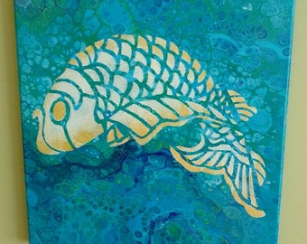 """fluid painting with fish stenciling 12"""" X 12"""""""