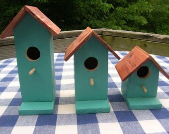 Cedar Birdhouses - Teal, Decorative, Set of 3 - Garden, Deck, Patio, Porch - Indoor, Outdoor Birdhouses