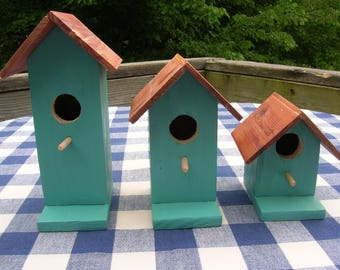 Cedar Birdhouses - Teal, Decorative, Set of 3 - Garden, Deck, Patio, Porch - Indoor, Outdoor Birdhouses