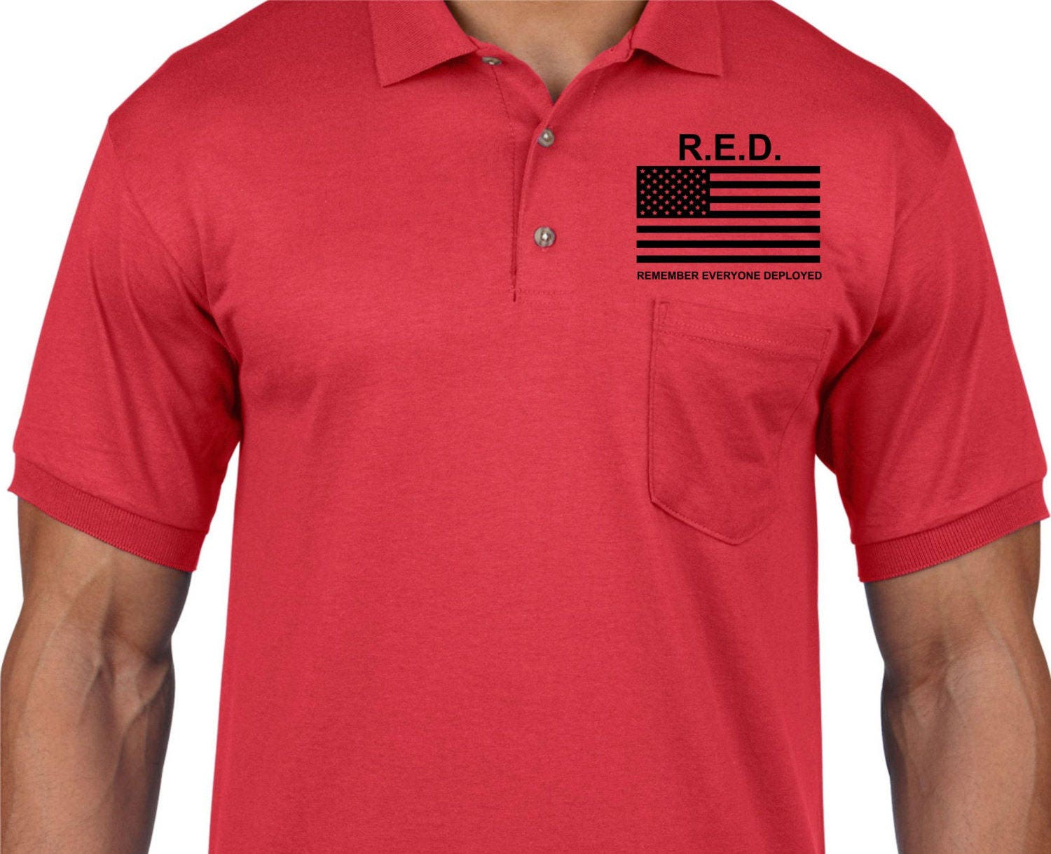 Red Remember Everyone Deployed Military Flag Front And Back Custom
