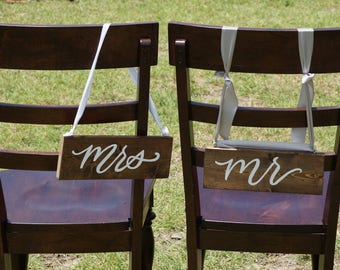 Wedding chair wooden signs | mr and mrs chair hangers