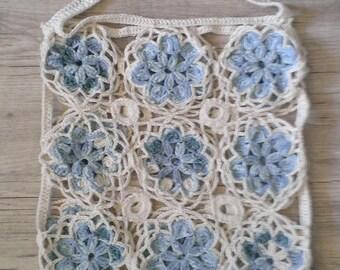 Tote bag with patchwork blue spirit flowers crochet Beach hippie
