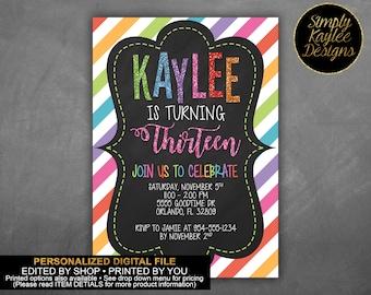 Glitter and Stripes Thirteenth Birthday Invitation