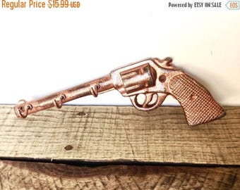 ON SALE Rustic Copper Gun Hook - Gifts For Dad - Key Holder - Rustic Wall Hooks - Wall Key Hooks - Cast Iron Hooks - Hunting Wall Decor