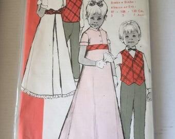 "UNOPENED French Italian Vintage Sewing Pattern ""Elle va bien 0067"" 70's boy & girl set of wedding clothes size 3/5/7 years dress pants vest"