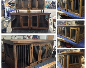Dog Kennel, Stain Finish, dog furniture, dog crate, dog bed, solid hardwood, handmade