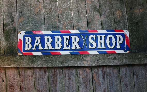 Heavy Tin Barber Shop Sign-Barber pole sign-Haircut sign-Vintage Sign-Tin Sign-Vintage Barber Advertisement-Collectible Sign-Primitive sign