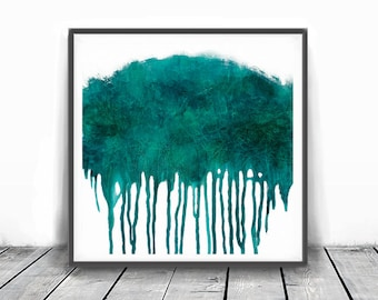 Printable abstract, teal and white, contemporary art, modern art , INSTANT DOWNLOAD, print from original painting, 12x12, blue abstract