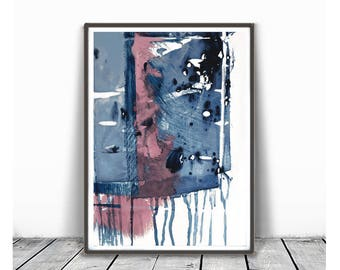 Digital Print, contemporary art, rustic home decor, wall art abstract, digital image, navy blue and pink, Indigo, abstract,  minimalism art