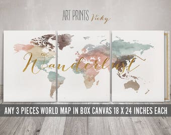 3 Panel Canvas, Canvas wall art, Set of 3 Canvas Prints, World Map Art 18x24 inches each canvas, total width 54x24 inches, ArtPrintsVicky