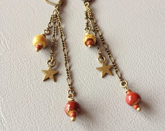 Dangling earrings, red and yellow ceramic, creating Leamorphoses