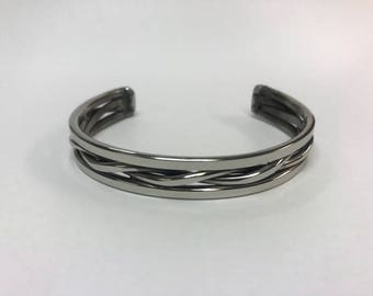 Polished Stainless Steel Twisted Cuff Bracelet