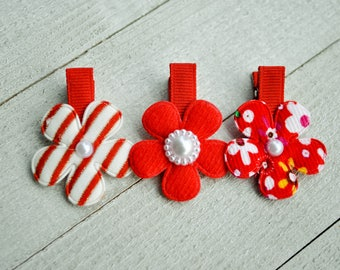 Red Flower Clips, Girl Hair Accesories, Baby Hair Accesories, Baby Bows, Baby Hair Clips, Infant Hair Clips, Girl Barrettes, Party Favors