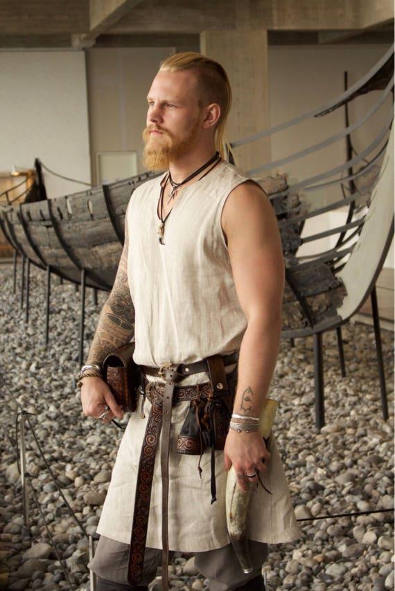 Sleeveless Viking Tunic Linen or Wool Celtic Knotwork Trim, Garb, Norse, SCA, LARP, HEMA, Reenactment, Slavic, Medieval, Renaissance Faire