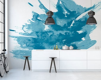 Blue Watercolour Wall Mural, Self Adhesive or Paste and Glue Materials Available, Wallpaper for Home or Business Interiors