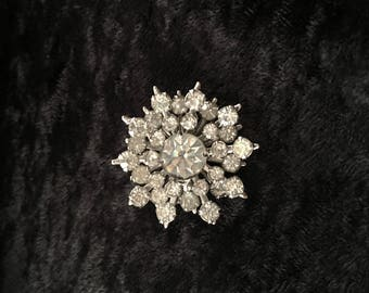Vintage Rhinestone Pin Brooch - Starburst - Snowflake - Clear Stones in Silver-Tone Setting