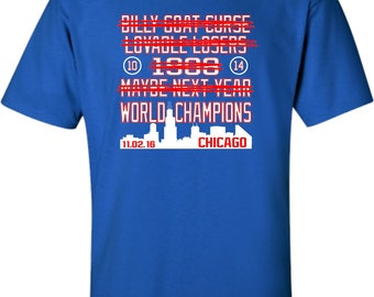 Adult Chicago Cubs Cross Out World Champions T-Shirt