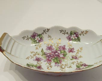 Vintage OLD GOLD Crown Violet Dish - Made in Japan