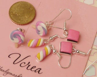 Tiny Candy Marshmellow Lollipop Liquorice Earrings Set 3 pcs