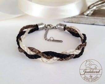 Horsehair bracelet made of three braids