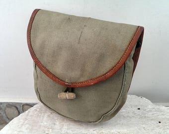 Vintage Khaki Canvas Belt Bag, Military Belt Bag, Ammo Pouch, Small Hunting Bag from 1970s