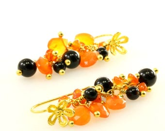 Neon Orange Carnelian and Black Onyx Cluster Vermeil Earrings, Orange and Black Gemstone Gold Plated Sterling Silver Earrings