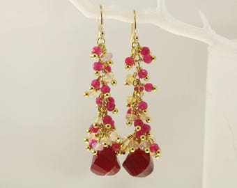 Ruby Quartz Drop and Ethiopian Welo Opal Cluster Earrings, Ruby Quartz Welo Opal Cluster Earrings, Long Dangle  Vermeil Earrings