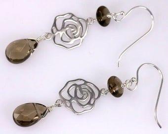 Smoky Quartz Tear Drop, Sterling Silver Rose Flower Charm, sterling silver gemstone earrings, brown beads earrings
