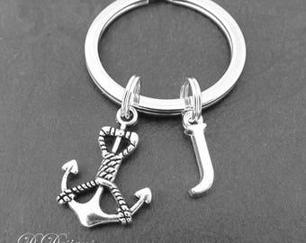 Anchor KeyRing, Anchor KeyChain, Nautical KeyChain, Personalised Anchor Key chain, Nautical Gifts