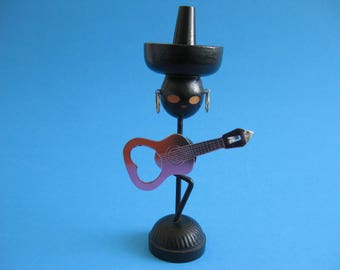 Mid Century Modern Mexican Guitar Player Bottle Opener Ideal Sombrero  magnetic belly Wire