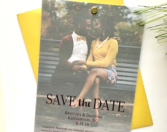 Custom Save the Date, Vellum Paper over Engagement Photo
