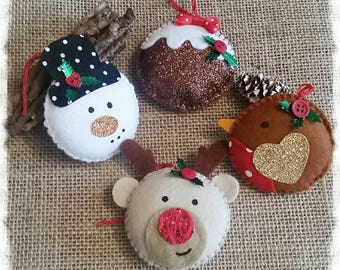 Hanging Christmas Decoration, Rudolph, Robin, Snowman, Christmas pudding, Tree decoration, Christmas decoration
